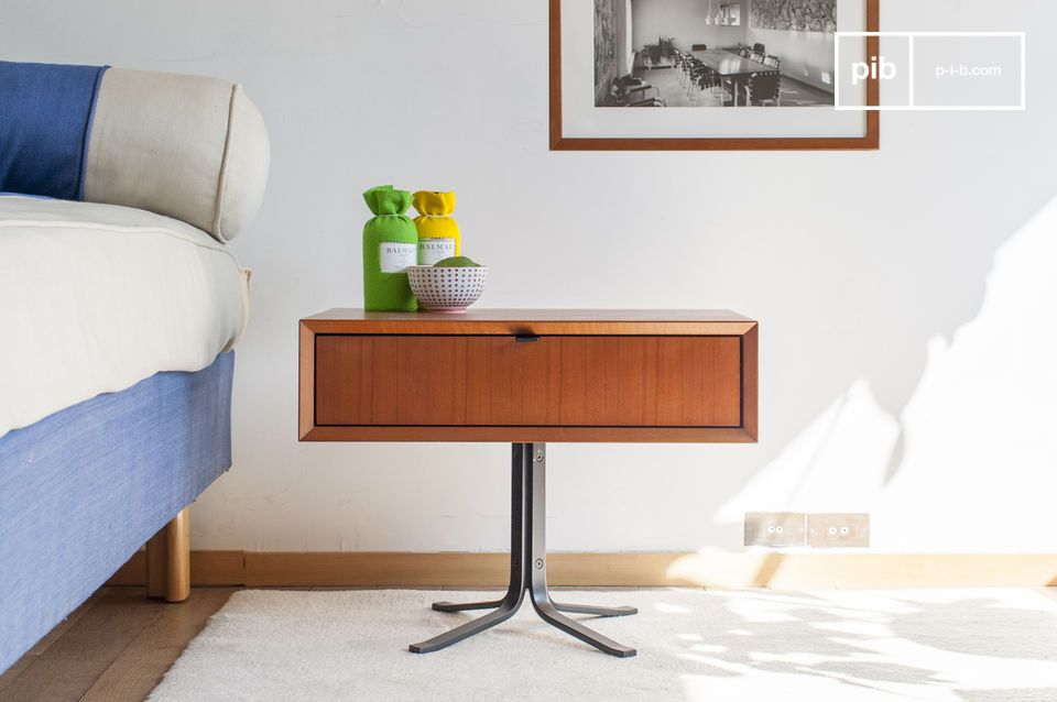 Rectangular wooden bedside table, in the look of the 1950s.