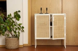 Sideboard in metal and wickerwork Lautalie