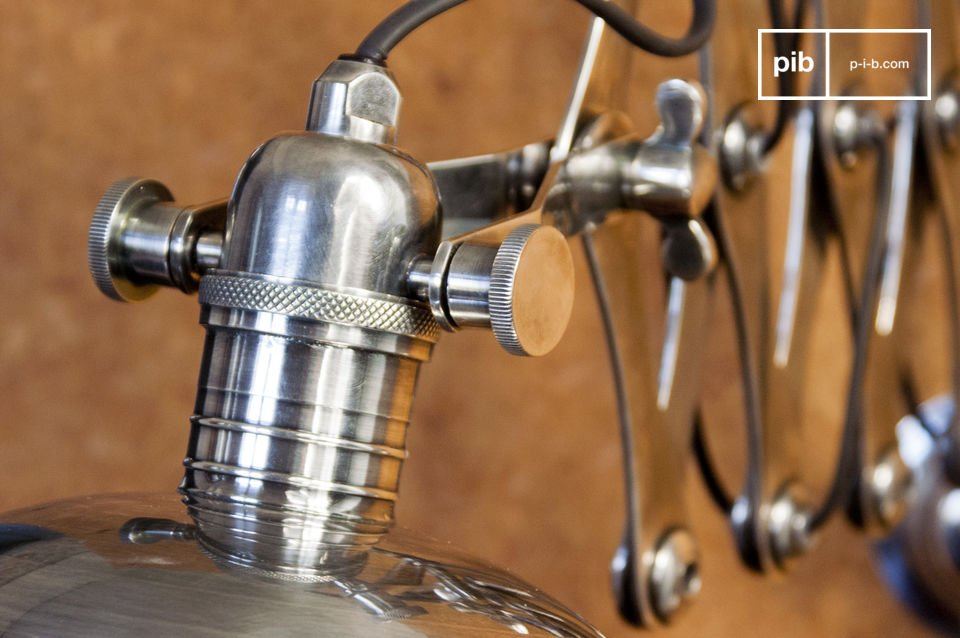 An original lighting fixture that is reminiscent of mid-century industrial design