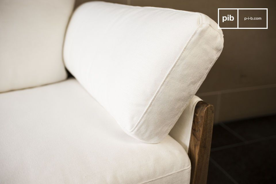The material, with which the cushion, the back and sides of the sofas are covered, is of white linen