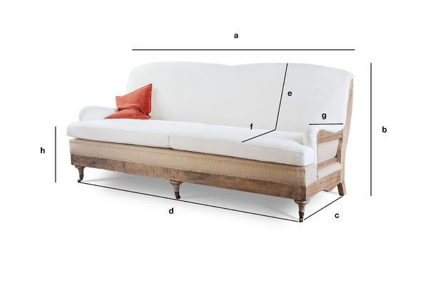 Product Dimensions Sofa with fabric Gustave