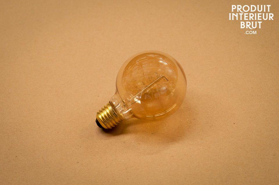 Large globe bulb with a filament in a decorative spiral