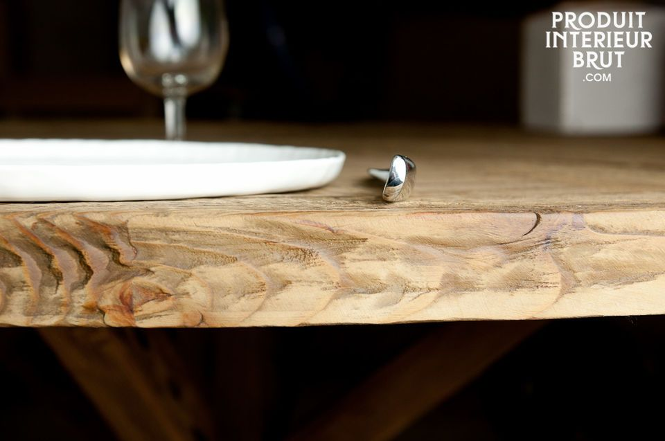 The Stella is a convivial and elegant dining table made entirely of aged solid pinewood