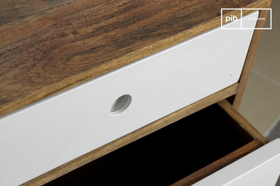 The three drawers on ball bearing drawer slides provide wonderful storage space as they are more than 40cm deep