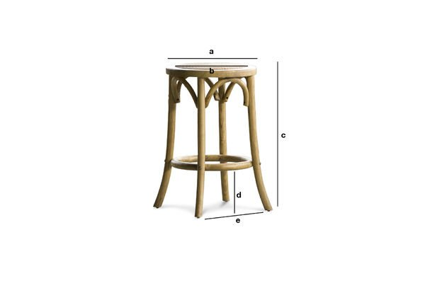 Product Dimensions Stool Pampelune with natural finish