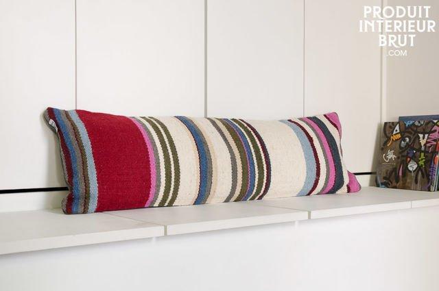 Striped stitch cushion