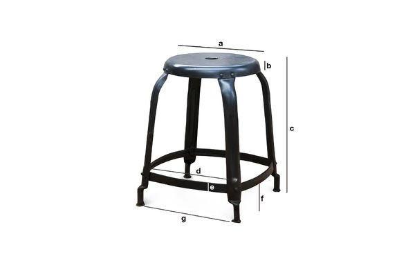 Product Dimensions Studio Stool matt black with rivets