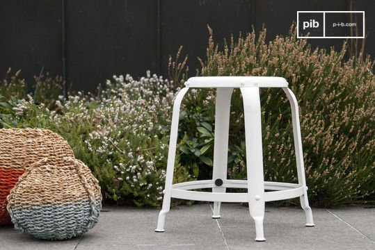 Studio stool with white rivets