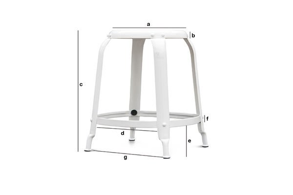 Product Dimensions Studio stool with white rivets