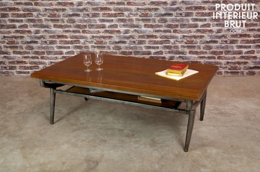 Coffee table the trendy vintage side table - Table basse roulette industrielle ...