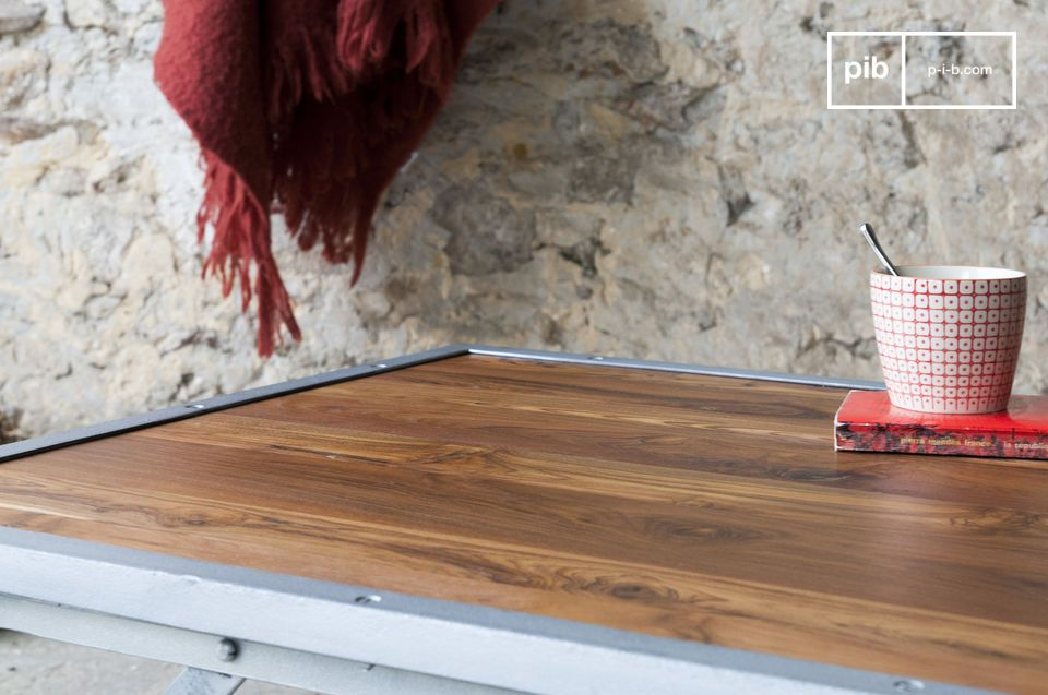 The Bollène teak coffee table combines vintage industrial design with practicality