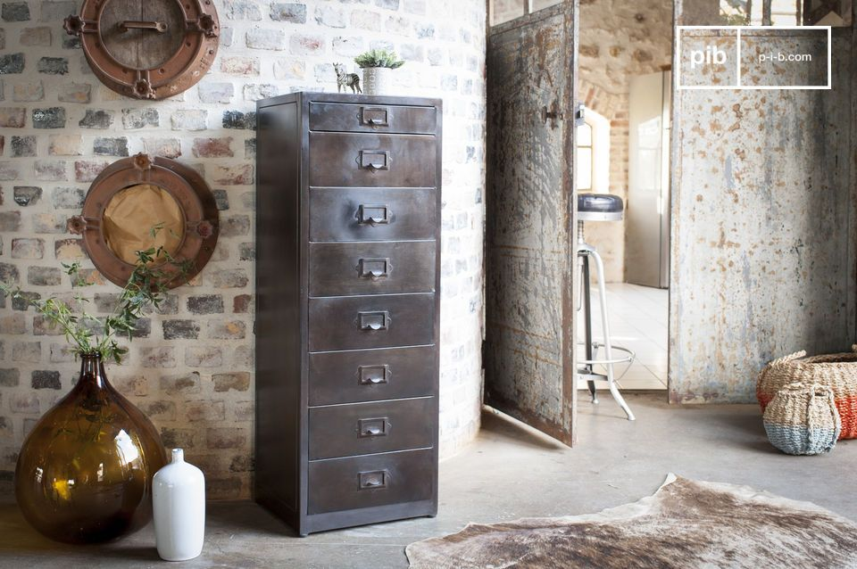 Large vintage metal filing cabinet with 8 drawers.
