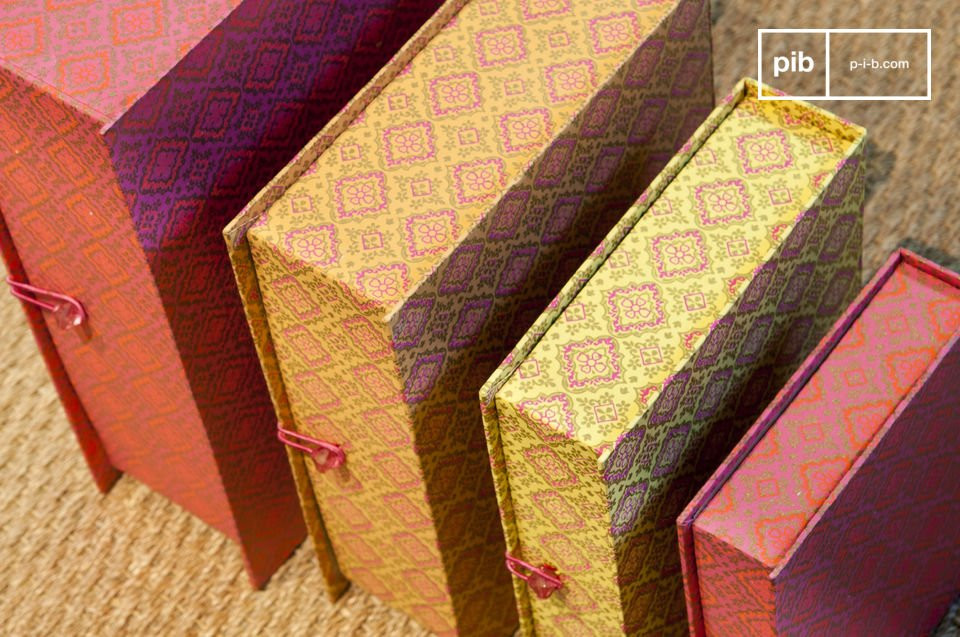 Charming colourful boxes with antique flair