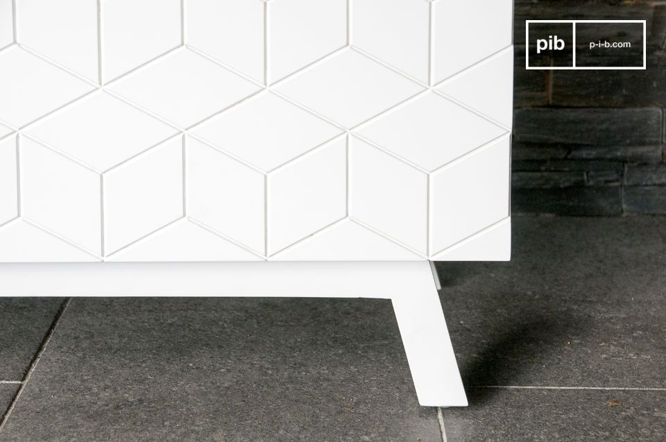 Entirely made of wood, the Liam sideboard is covered with a beautiful matte white lacquered color