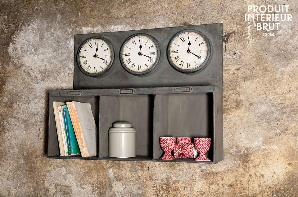 Three-clock box shelves