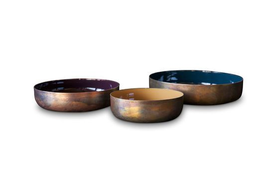 Three enamelled Thalie bowls Clipped