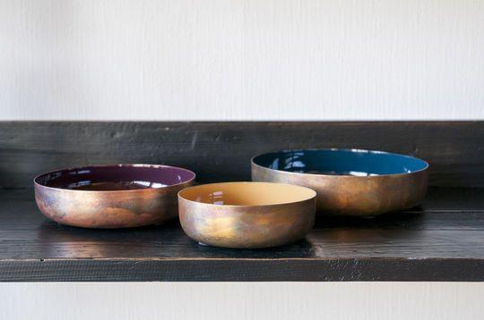Three enamelled Thalie bowls