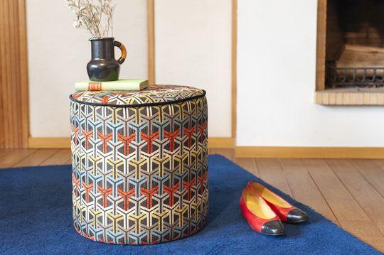 Toumani pouf in graphic fabric