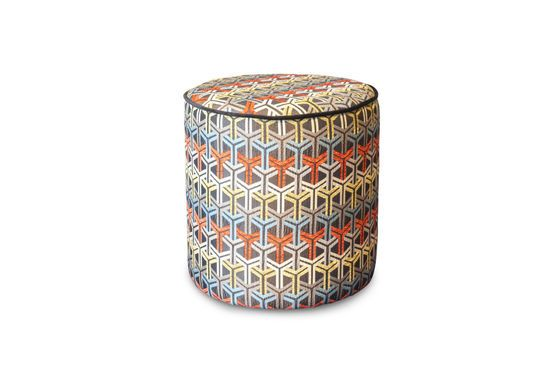 Toumani pouf in graphic fabric Clipped
