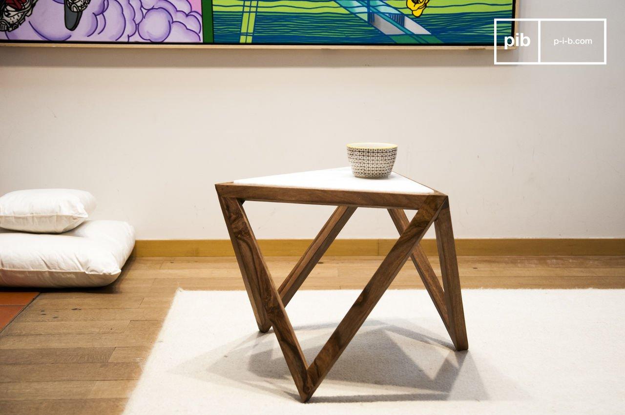 triangular side table marmori  marble base with slick  pib -