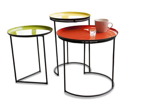 Tricolour Kirk nesting table  Tripartite table set made of  PIB -> Table Gigogne