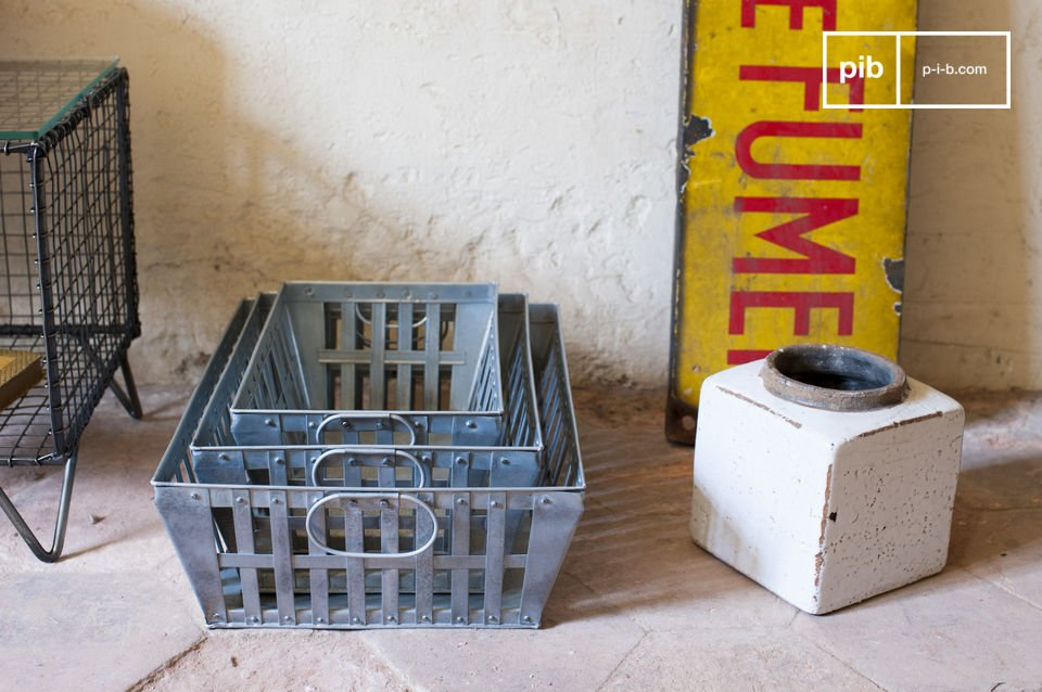 These three industrial baskets are made entirely of metal and have a braided finishing