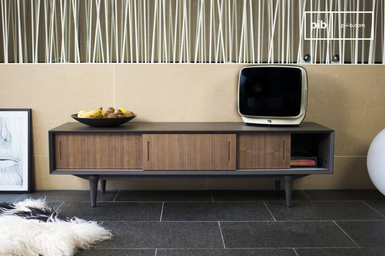 Vintage TV stand Bascole - Design solid oiled acacia | pib