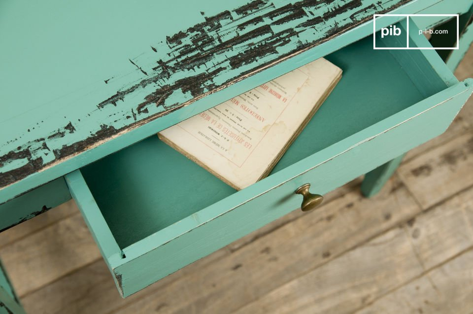 Created entirely from solid wood painted in a particularly attractive turquoise blue colour the