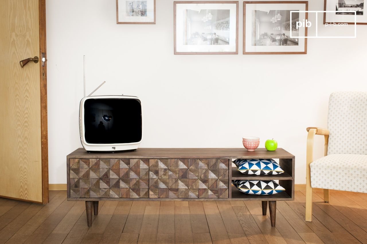 Stockholm Tv Table 1950s Design Solid Acacia Wood Pib # Meuble Tv Acacia