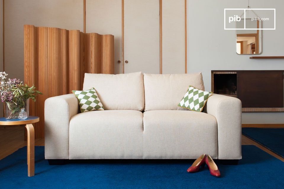 A sofa with simple lines inspired by art-deco.