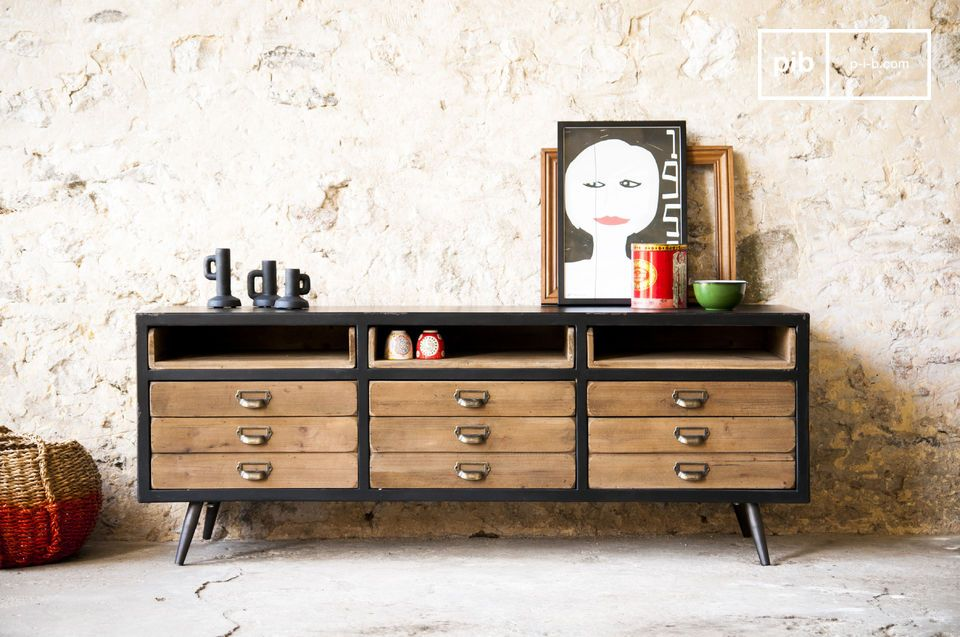 Large industrial design buffet with 9 drawers.