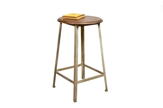 Varnished wood and metal stool Clipped