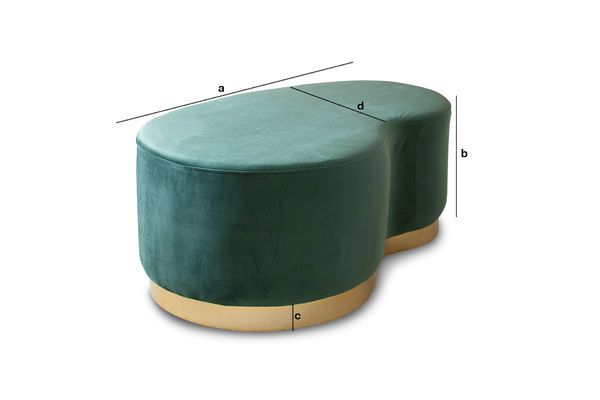 Product Dimensions Velvet Bean two-seater pouf