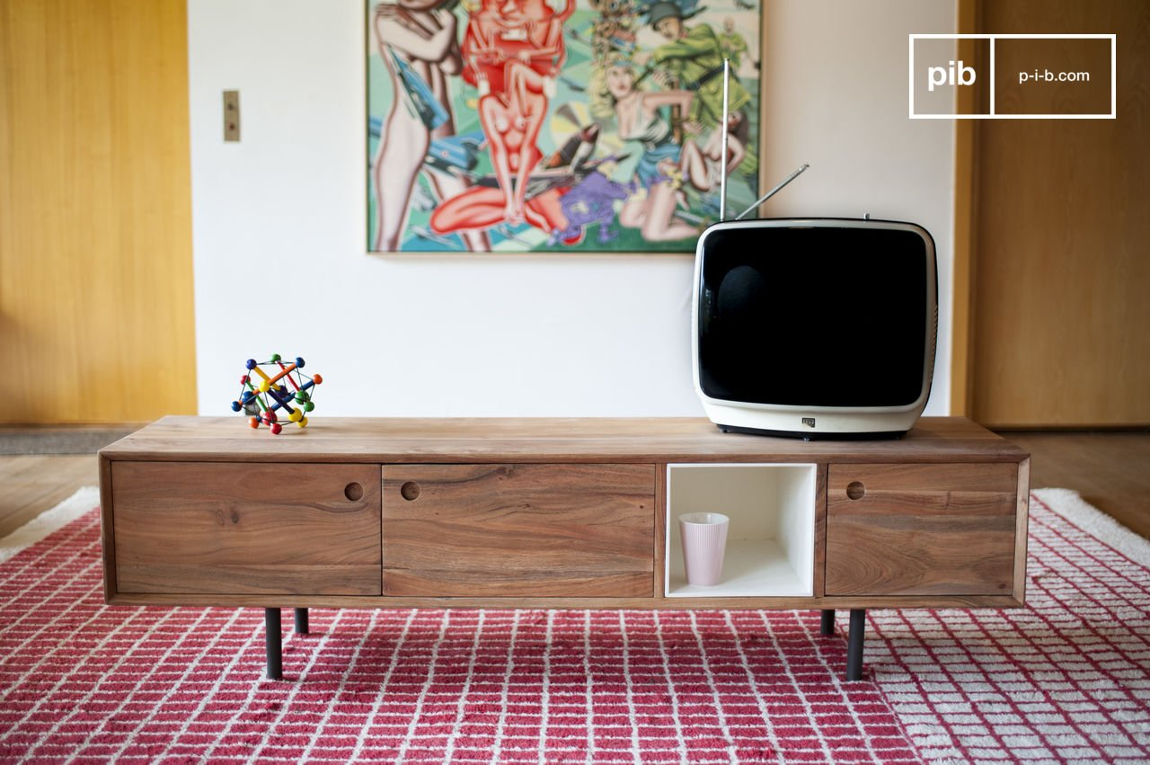 Stockholm Tv Table 1950s Design Solid Acacia Wood Pib # Meuble Tv Hifi Vintage
