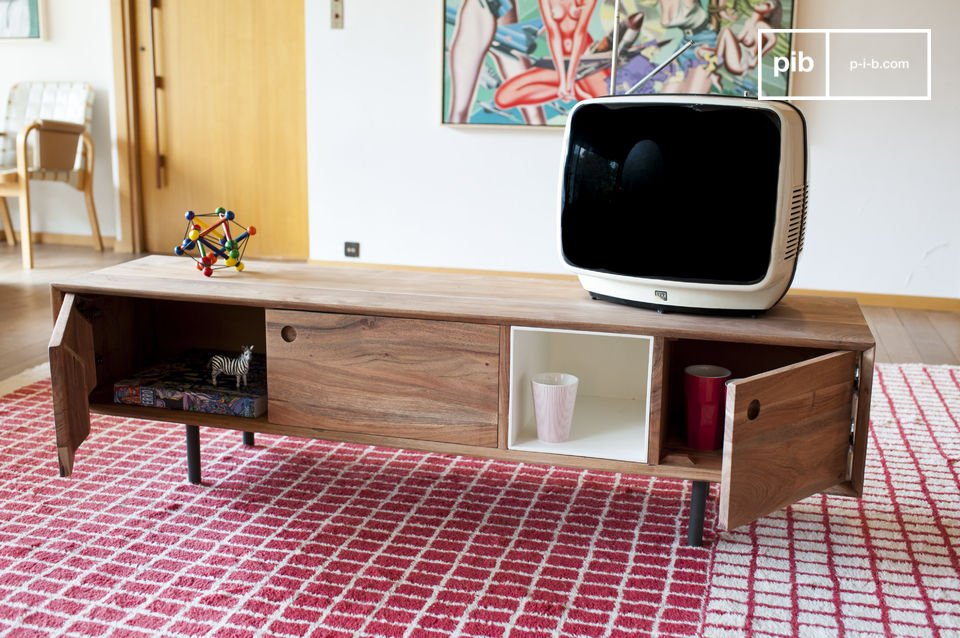 The Bascole retro tv stand combines a sophisticated dark metal frame that contrasts with the acacia