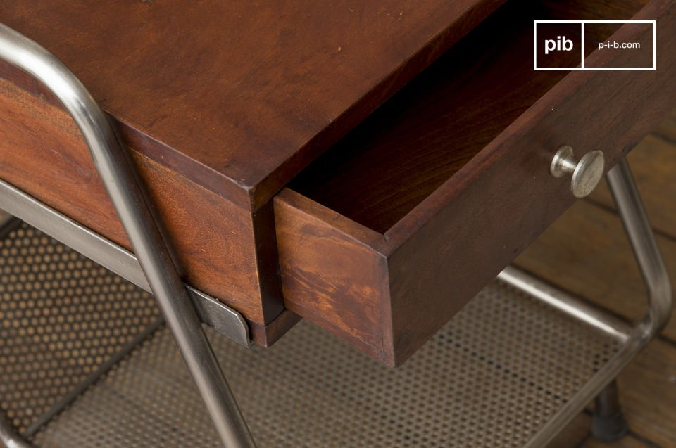 End of couch or bedside table. Great vintage spirit