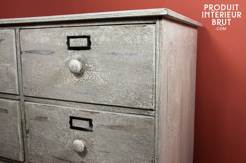 Eight-drawer distressed wood chest