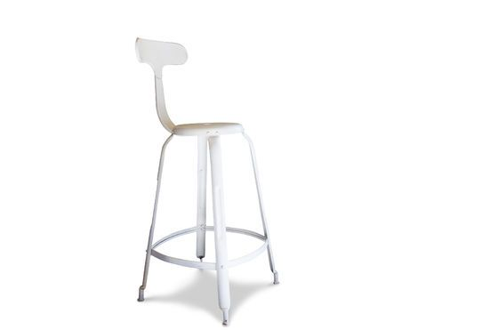 White bar stool with rivets Clipped
