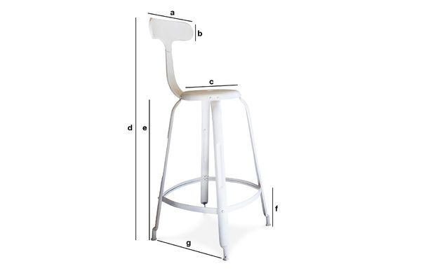 Product Dimensions White bar stool with rivets