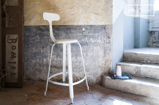 White barstool with rivets