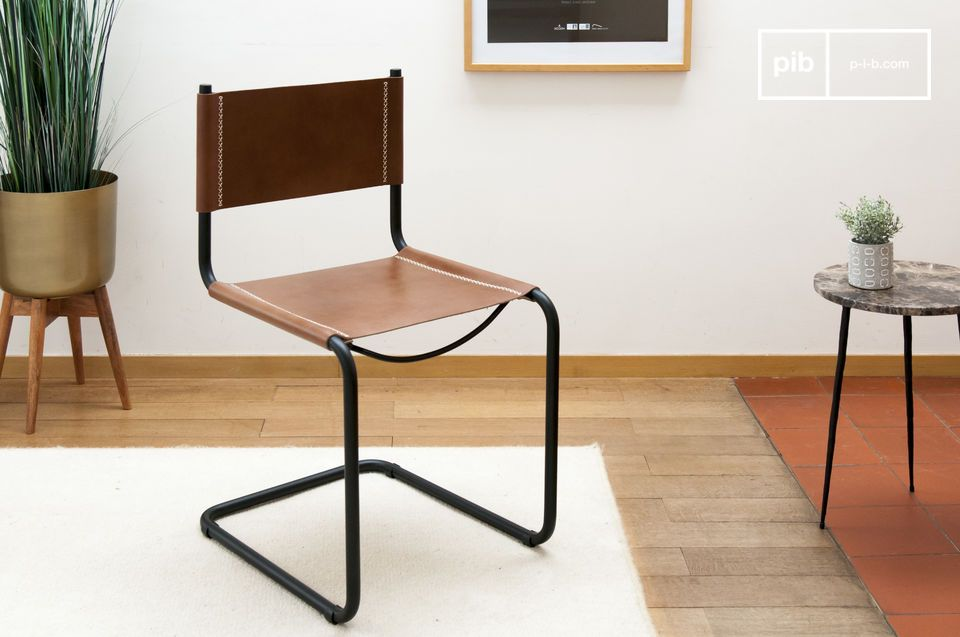 A leather chair with a graphic look  and design
