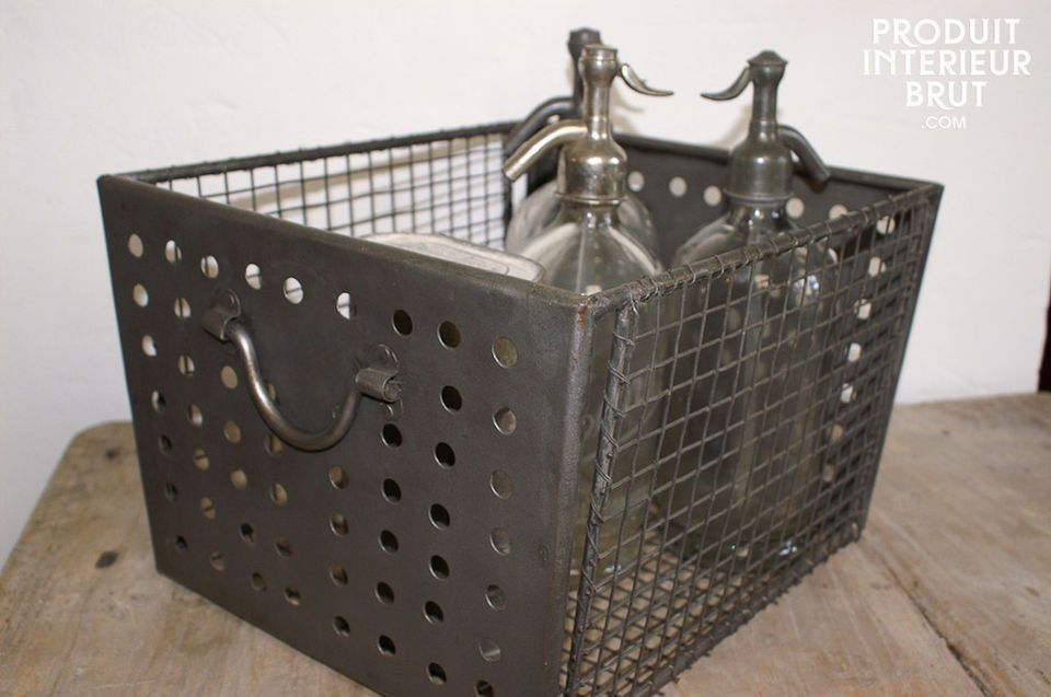 Industrially-inspired wire mesh basket
