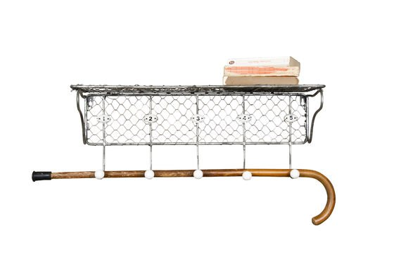 Wire mesh shelf with numbered hooks Clipped