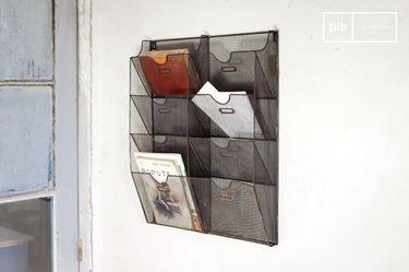 Wire-mesh wall mount magazine rack