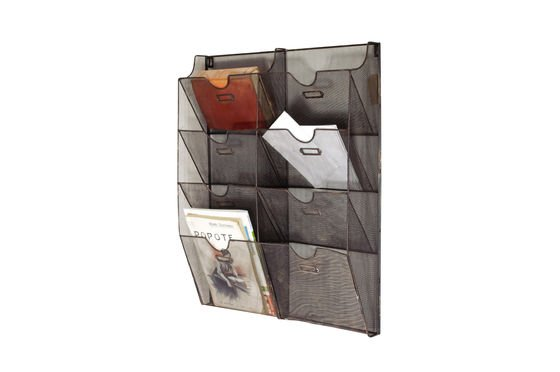Wire-mesh wall mount magazine rack Clipped
