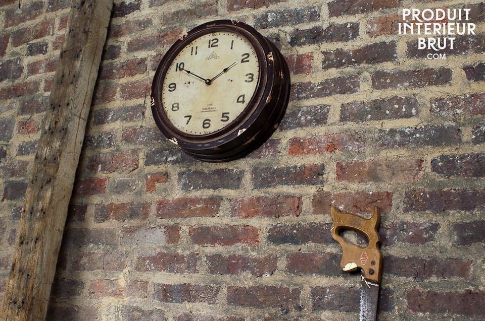 Industrial workshop clock, painted wood and with a glass front