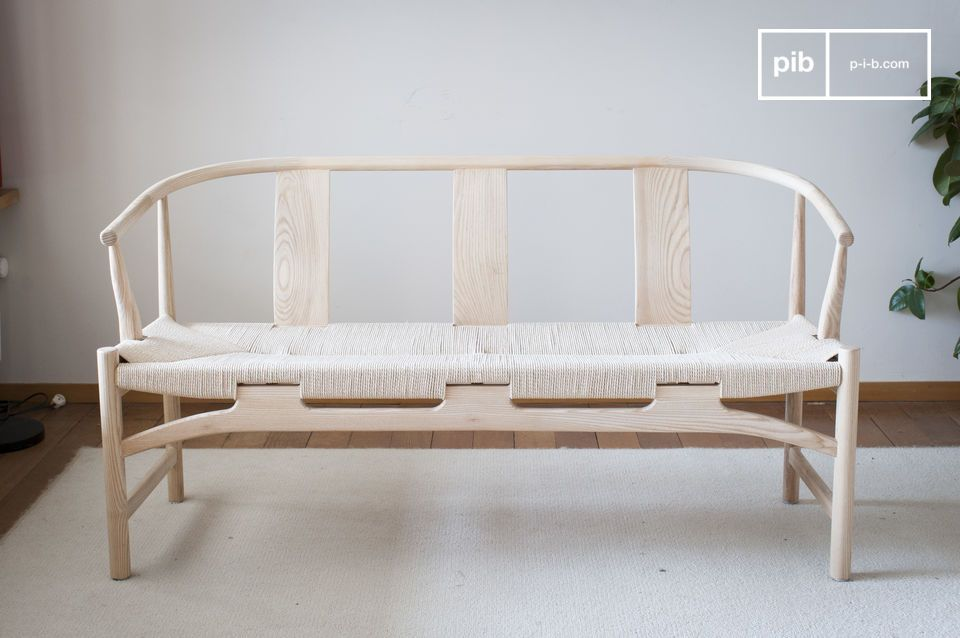 This Scandinavian style bench will easily add a touch of vintage charm to your décor