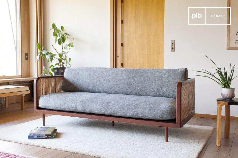 The Starheim wood and cane sofa