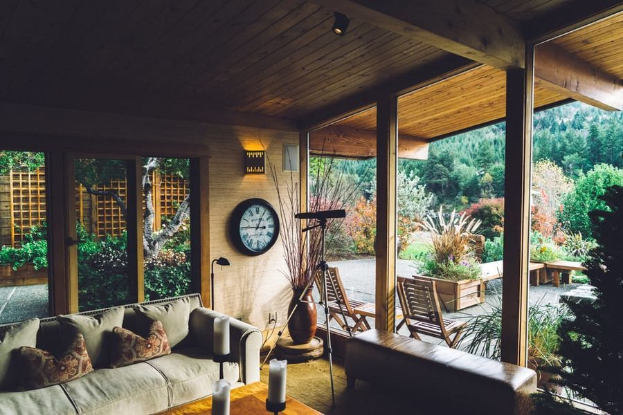 wooden living room with a view