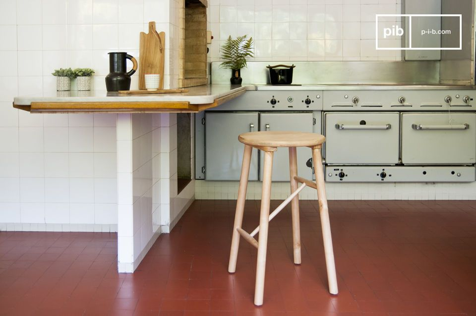 An elegant Scandinavian style birch stool